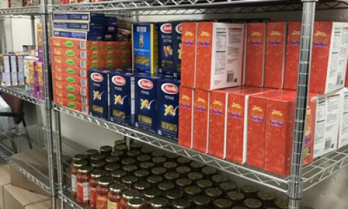 stocked shelves at rvcc food pantry
