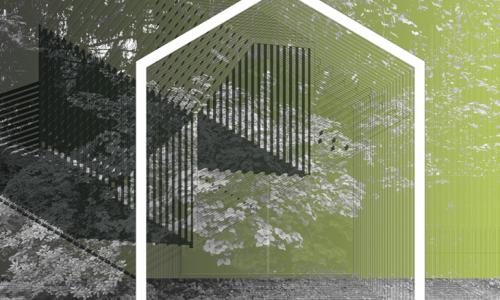 artwork with house shape in white outline and background in greens