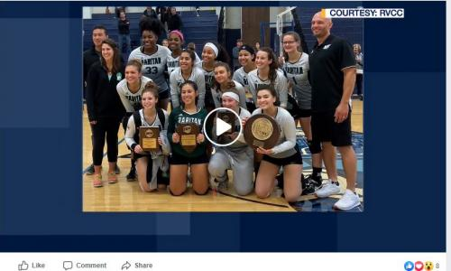 photo of news 12 video with volleyball team